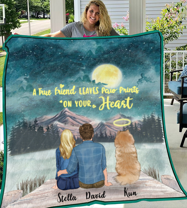 Couple And 1 Dog - Personalized Moonlight Quilt Blanket