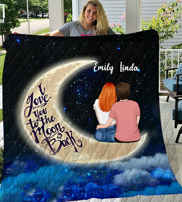 Personalized Mother's Day Gift From Daughter to Mom - Mom with 1 Daughter Night Sky Quilt Blanket - Best mother's day gift ideas - I love you to the moon and back