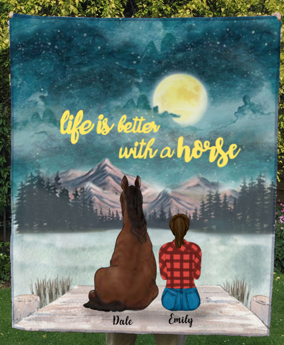 Girl With 1 Horse - Personalized Moonlight Fleece Blanket - V2