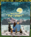 Couple And Pets: 2 Dogs, 3 Cats - Personalized Moonlight Fleece Blanket - V2