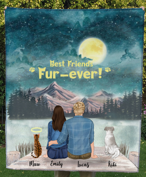 Couple With Dogs And Cats - Personalized Moonlight Fleece Blanket - V2