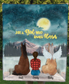 Girl With 2 Horses - Personalized Moonlight Fleece Blanket - V2