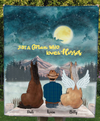 Man & 2 Horses - Personalized Moonlight Fleece Blanket - V2
