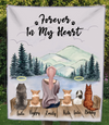 Dog Mom - 5 Dogs - Personalized Mountain Fleece Blanket