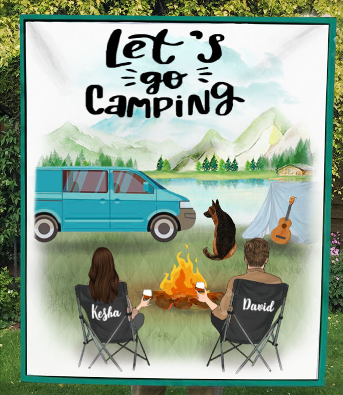 Personalized camping blanket - Best gift for couple & dog lovers, dog dad mom - 1 Dog & Couple Camping Quilt - Camping partners for life