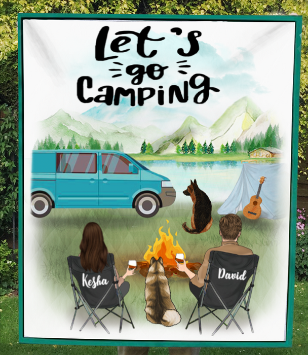 Custom personalized dog & owners camping blanket gift idea for the whole family, dog lovers - Dogs & Couple camping Quilt V3