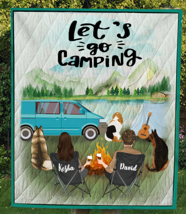 Custom personalized dog & owners camping blanket gift idea for the whole family, dog lovers - 3 Dogs & Couple camping quilt V4