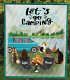 Couple With 1 Cat And 3 Dogs - Personalized Camping Quilt Blanket - V4