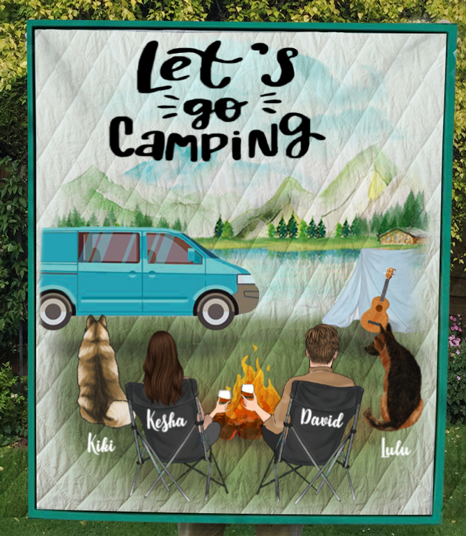 Personalized dog & owners camping quilt blanket gift idea for couple, dog lovers -  2 Dogs & Couple - Let's go camping