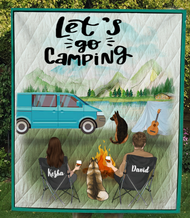 Custom personalized Dog & Owners camping blanket, gift idea for the whole family, dog lovers, dog dad mom - Couple & 2 Dogs V4