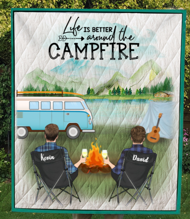 Personalized Gift For Same Sex Couple - Personalized Camping Blanket - Man & Man Camping Quilt Blanket - Life is better around the campfire
