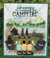 Family With 3 Kids And 2 Pets ,Couple With 3 Kids And 2 Pets - Personalized Camping Quilt Blanket