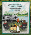 Personalized camping blanket gift idea for the whole family, cat dog lovers - Parents with 2 Kids & 3 Pets Quilt Blanket - Father's day gift - Mother's day gift from husband to wife - Full camper option