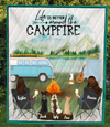 Woman And Woman With 3 Dogs And 1 Cat  - Personalized Camping Quilt Blanket - V5, Life is around the campfire