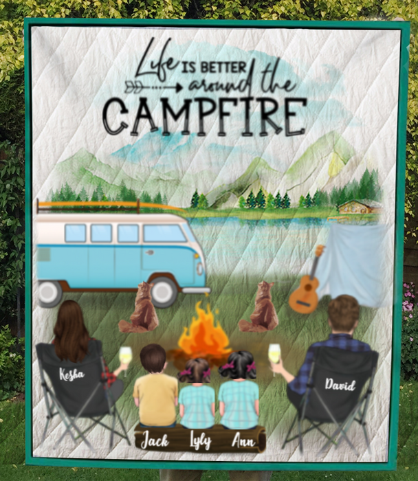 Custom personalized Cat & Owners camping blanket gift idea for the whole family, Cat lovers - Parents, 3 Kids & 2 Cats Camping Quilt - Life is better around the campfire