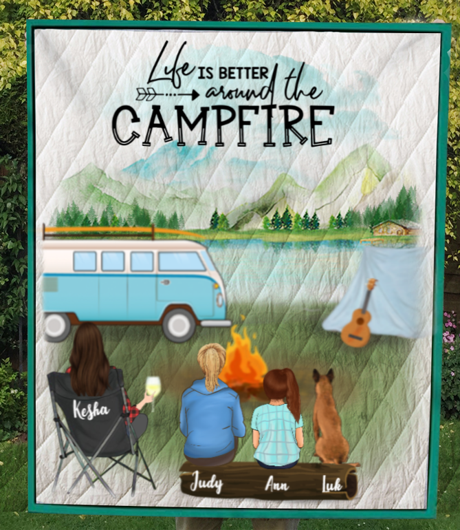 Personalized Mother's Day Gift For Single Mom - Mom with 1 Teen, 1 Kid & 1 Dog camping quilt - Best mother's day gift ideas - Life is better around the campfire