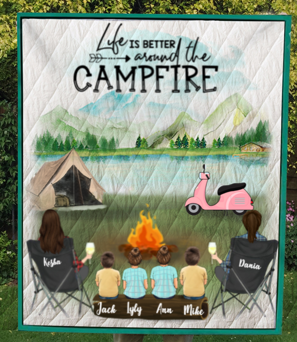 Personalized Gift For Couple Same Sex - Personalized Camping Blanket - 2 Women & 4 Kids Camping Quilt Blanket - Life is better around the campfire - No Camper
