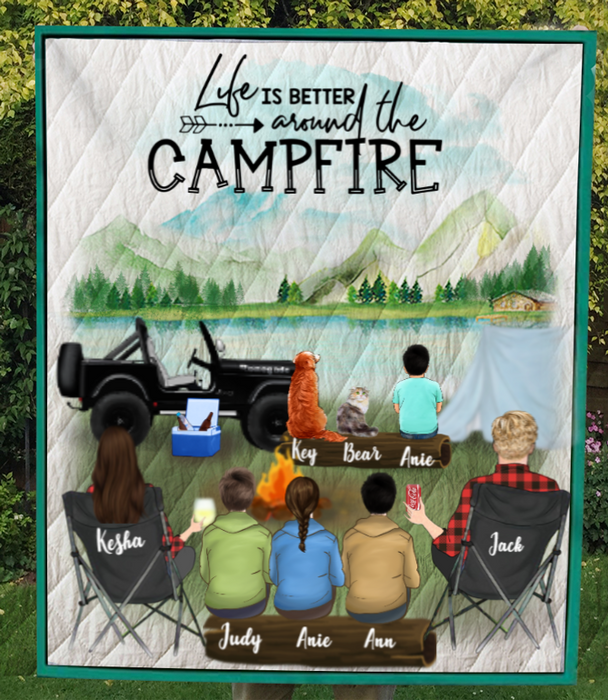 Family With 3 Teens, 1 Kid And 2 Pets - Personalized Camping Quilt Blanket - V5, Life is around the campfire