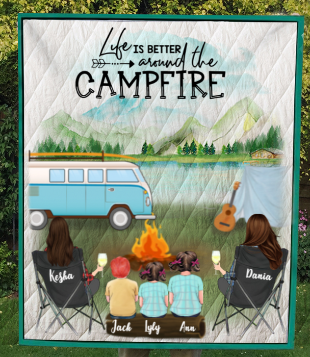 Personalized Gift For Same Sex Couple - Personalized Camping Blanket - 2 Women & 3 Kids Camping Quilt - Life is better arounf the campfire