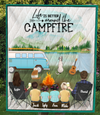 Family With 4 Kids,  1 Dog and 1 Cat- Personalized Camping Quilt Blanket - V5.2, Life is better around the campfire