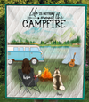 Personalized Mother's Day Gift For Dog Mom - Mom & 1 Dog Camping Fleece Blanket - Life is around the campfire - Gift idea for dog moms