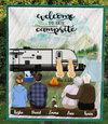 Personalized Family Blanket, Gift Idea For The Whole Family, Camping Lovers - Grandparents Parents 3 Dogs/3 Cats Camping Blanket - Welcome to our campsite