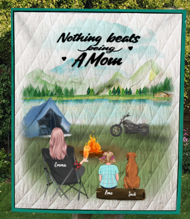 Personalized Mother's Day Gift For Single Mom - Mom with 1 Kid & 1 Dog camping quilt - Best mother's day gift ideas - No camper