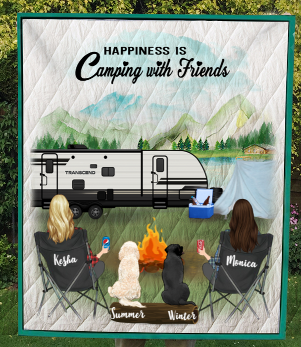 Personalized Gift For Best Friend Blanket - 2 Camping Besties And 2 Pets - We are more than just camping friends