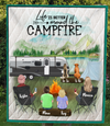 Personalized Gift For Same Sex Couple - Personalized Camping Blanket - 2 Women with 2 Kids & 2 Pets Camping Quilt Blanket - Life is better around the campfire