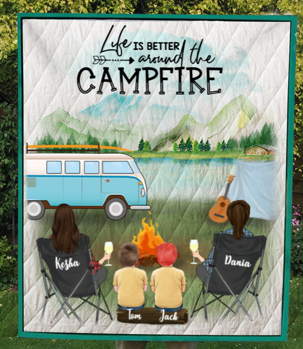 Personalized Gift For Same Sex Couple - Personalized Camping Blanket - 2 Women & 2 Kids Camping Quilt - Life is better around the campfire