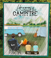 Single Dad  With Kids And Dogs - Personalized Camping Blanket - V5.2, Life is better around the campfire