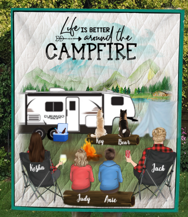 Personalized camping quilt blanket gift idea for the whole family - Parents & 2 teens, 2 pets - Father's day gift - Mother's day gift from husband to wife