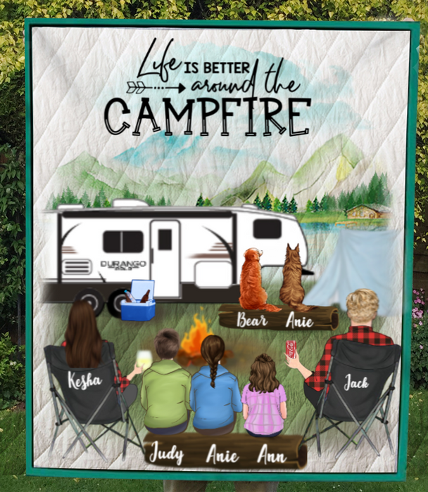 Personalized camping blanket gift idea for the whole family, cat dog lovers - Parents with 2 teens, 1 kid & 2 pets quilt blanket - Father's day gift - Mother's day gift from husband to wife