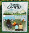 Personalized Mother's Day Gift For Single Mom - Mom & 2 Kids camping quilt - Best mother's day gift ideas - Life is better around the campfire