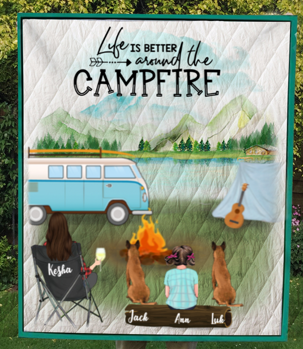 Single Mom With 1 Kid and 2 Dogs - Personalized Camping Quilt Blanket - V5, Life is around the campfire