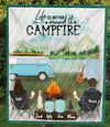 Family With 2 Kids, 1 Dog And 1 Cat - Personalized Camping Quilt Blanket - V5.2, Life is better around campfire