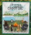 Custom personalized cat dog & owners camping blanket gift idea for the whole family, cat dog lovers - 1 Cat, 2 Dogs & Couple Camping Quilt