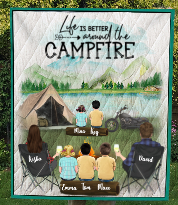 Family With Kids And Pets, Up To 5 Kids, Up To 5 Pets, Personalized Camping Quilt Blanket V6