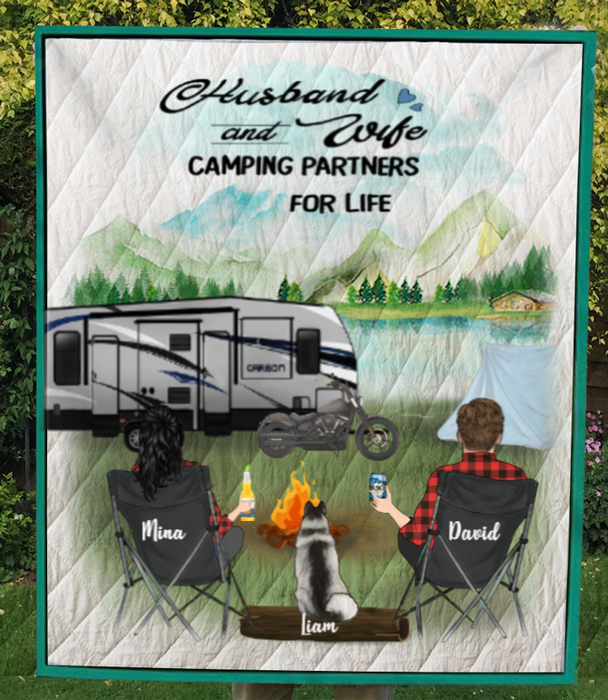 Custom personalized cat dog & owners camping blanket gift idea for the whole family, cat dog lovers - 1 Pet & Couple Camping Quilt V5
