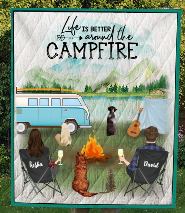 Family With 2 Dogs & 2 Cats - Personalized Camping Blanket - V5.2, Life is around the campfire