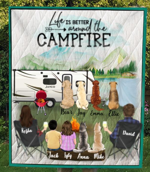 Personalized dog & owners camping blanket gift idea for the whole family, dog lovers - Parents, 2 Kids & 6 Dogs camping quilt - Life is better around the campfire