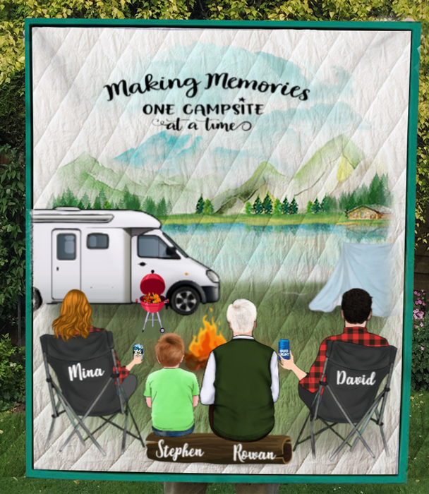 Personalized Family Blanket, Gift Idea For The Whole Family, Camping Lovers - Grandfather with Parents & 1 Kid Camping Quilt