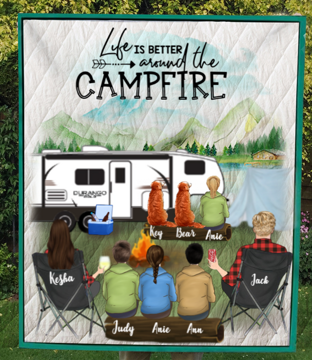 Personalized cat dog & owners camping blanket gift idea for the whole family, cat dog lovers - Parents with 4 Teens & 2 Pets Quilt Blanket - Life is better around the campfire