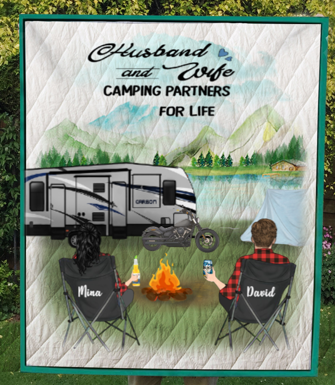 Personalized Camping blanket gift idea for couples, camping lovers - Couple Quilt Blanket - No Kid, No Pet - Full camper option