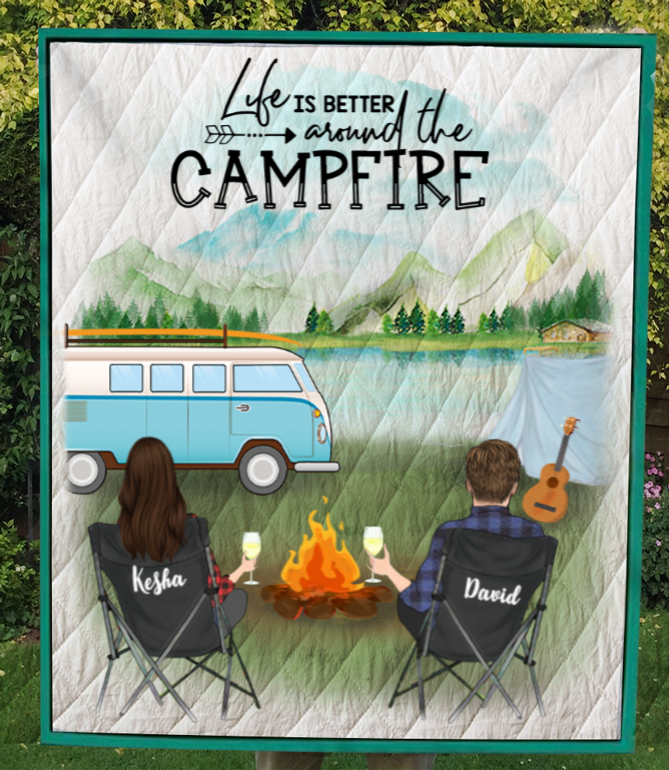 Personalized camping quilt blanket gift for couples, camping lovers - Couple Camping, No Kid, No Pet - Life is better around the campfire