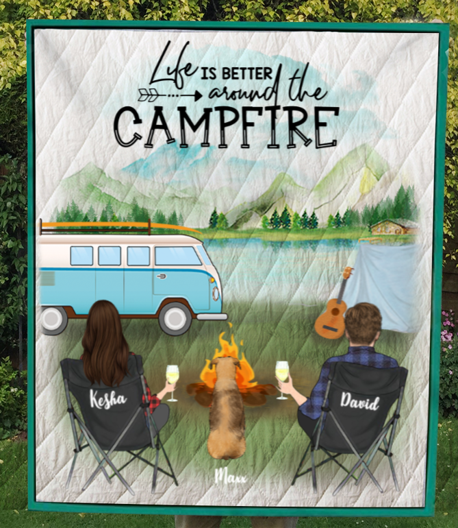 Personalized dog & owners camping blanket gift idea for the whole family, dog lovers - 1 Dog & Couple camping quilt