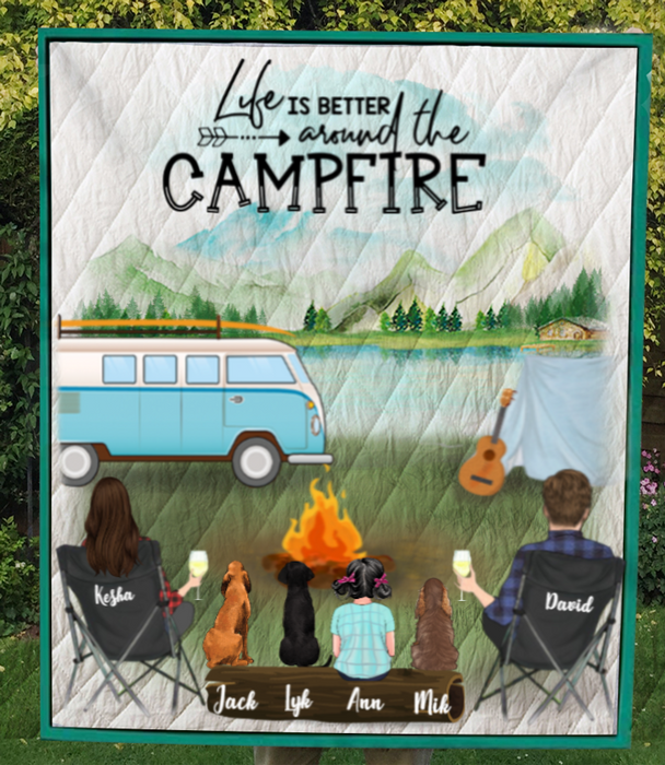 Personalized dog & owners camping blanket gift idea for the whole family, dog lovers - Parents with 1 Kid and 3 Dogs camping quilt - Life is better around the campfire