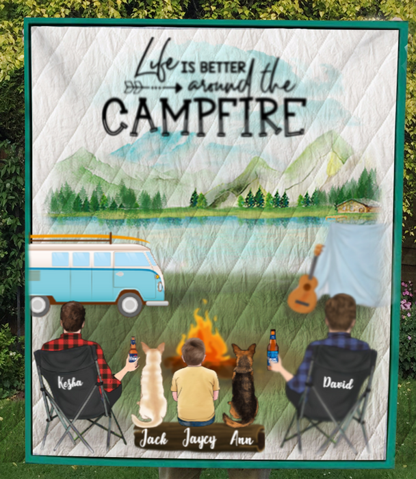 Custom Dog Blanket Gifts For Same Sex Couples - Personalized Camping Quilt Blanket - Man & Man With 1 Kid, 2 Dogs  - Life is better around the campfire