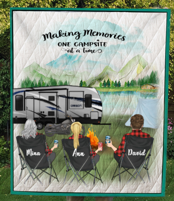 Personalized Gift For Couple Same Sex - Personalized Camping Blanket - 2 Women & 1 Man Camping Quilt Blanket - Making memories one campsite at a time