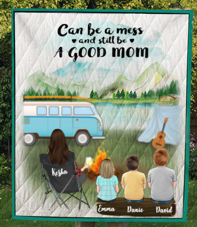 Personalized Mother's Day Gift For Single Mom - Mom with 3 Kids camping quilt - Best mother's day gift ideas - Can be a mess and still be a good mom